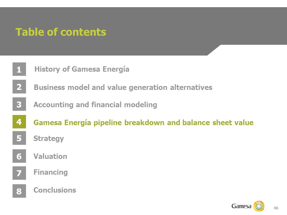 46 Table of contents 1 2 3 4 Business model and value generation alternatives Gamesa Energía pipeline breakdown and balance sheet value Accounting and financial modeling History of Gamesa Energía 5 6 Strategy Valuation 7 Conclusions 8 Financing