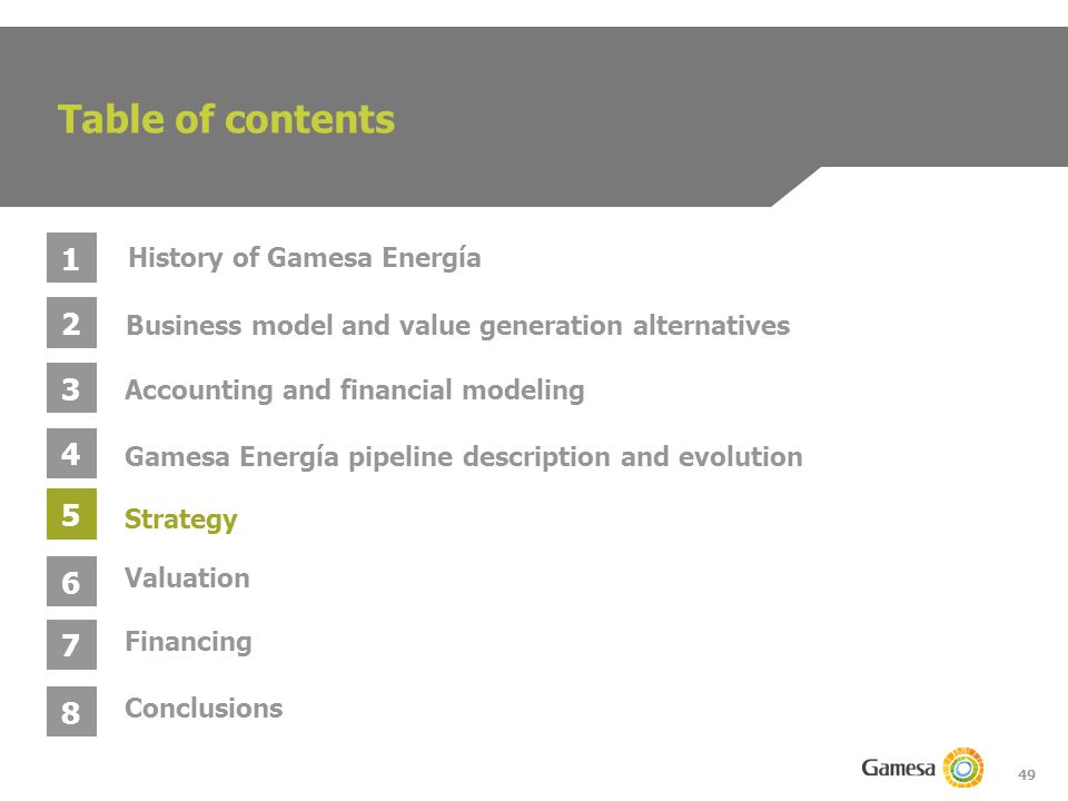 49 Table of contents 1 2 3 4 Business model and value generation alternatives Gamesa Energía pipeline description and evolution Accounting and financial modeling History of Gamesa Energía 5 6 Strategy Valuation 7 Conclusions 8 Financing