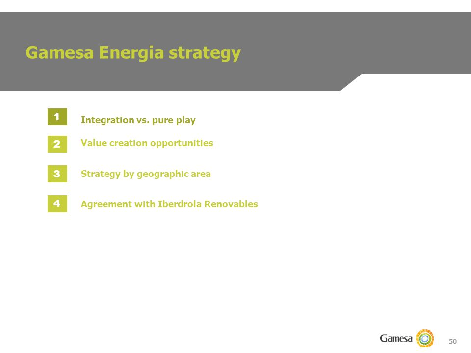 50 Gamesa Energia strategy Integration vs.