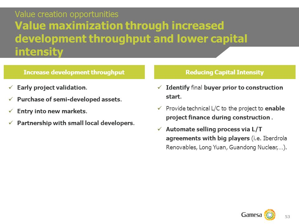 53 Value creation opportunities Value maximization through increased development throughput and lower capital intensity Increase development throughputReducing Capital Intensity Early project validation.