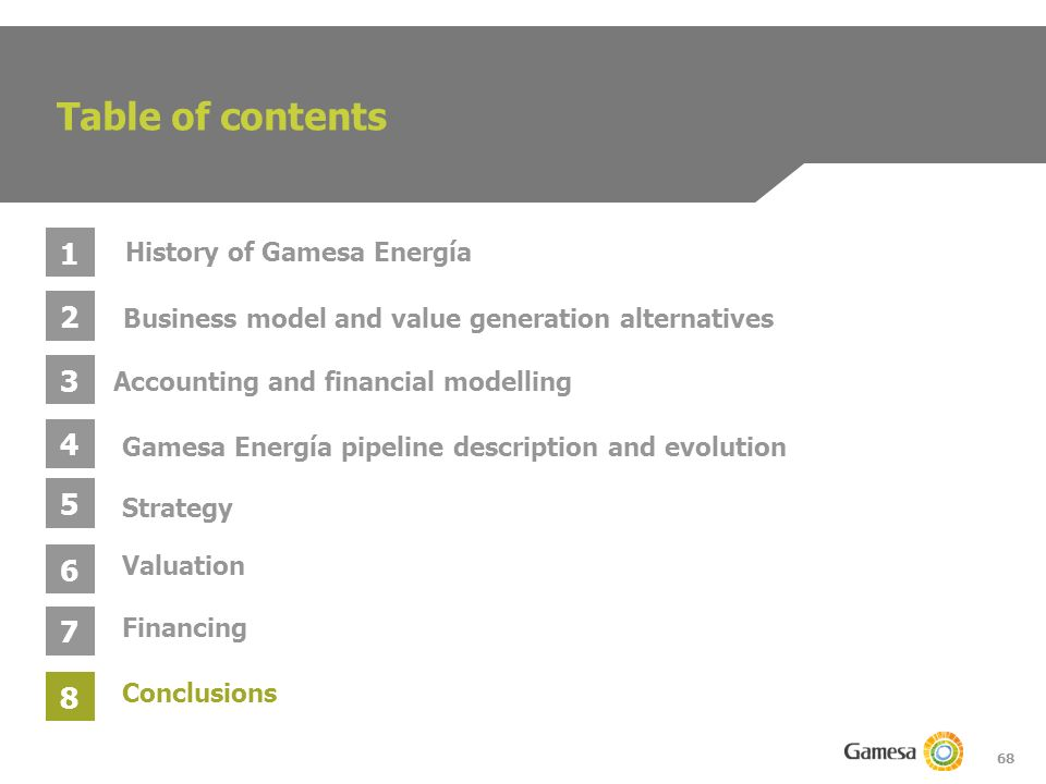 68 Table of contents 1 2 3 4 Business model and value generation alternatives Gamesa Energía pipeline description and evolution Accounting and financial modelling History of Gamesa Energía 5 6 Strategy Valuation 7 Conclusions 8 Financing