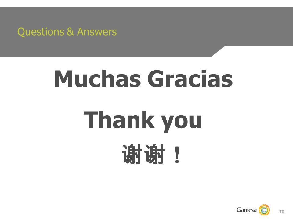 70 Questions & Answers Muchas Gracias Thank you