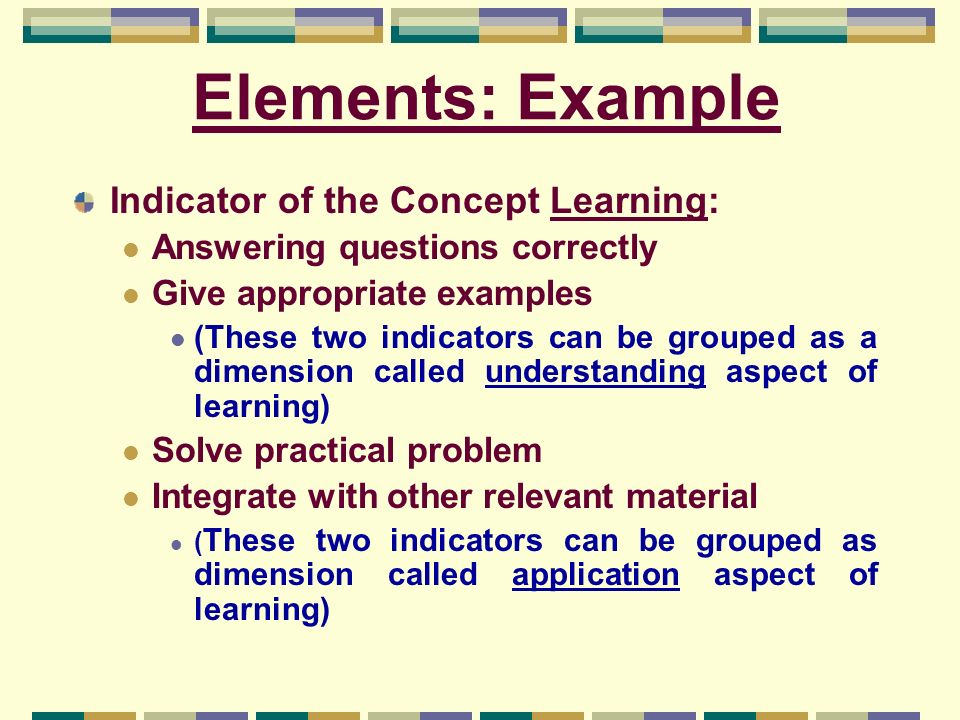 Elements: Example Indicator of the Concept Learning: Answering questions correctly Give appropriate examples (These two indicators can be grouped as a