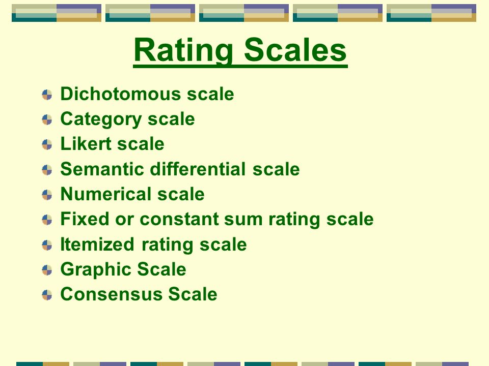 Rating Scales Dichotomous scale Category scale Likert scale Semantic differential scale Numerical scale Fixed or constant sum rating scale Itemized ra