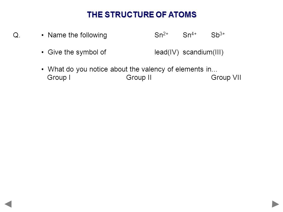 THE STRUCTURE OF ATOMS Q. Name the followingSn 2+ Sn 4+ Sb 3+ Give the symbol of lead(IV)scandium(III) What do you notice about the valency of element