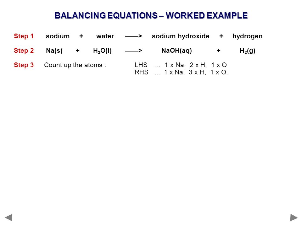 BALANCING EQUATIONS – WORKED EXAMPLE Step 1 sodium + water > sodium hydroxide + hydrogen Step 2 Na(s) + H 2 O(l) > NaOH(aq) + H 2 (g) Step 3Count up t
