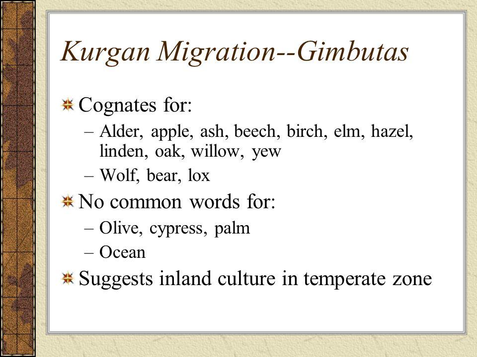 Kurgan Migration--Gimbutas Cognates for: –Alder, apple, ash, beech, birch, elm, hazel, linden, oak, willow, yew –Wolf, bear, lox No common words for: