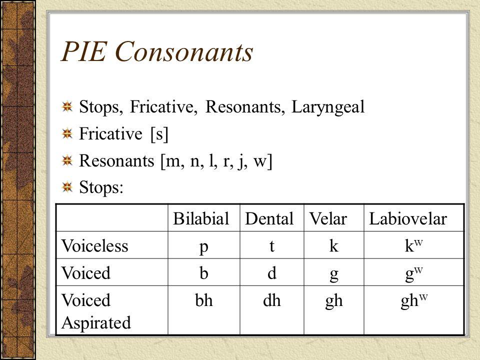 PIE Consonants Stops, Fricative, Resonants, Laryngeal Fricative [s] Resonants [m, n, l, r, j, w] Stops: BilabialDentalVelarLabiovelar Voicelessptkkwkw