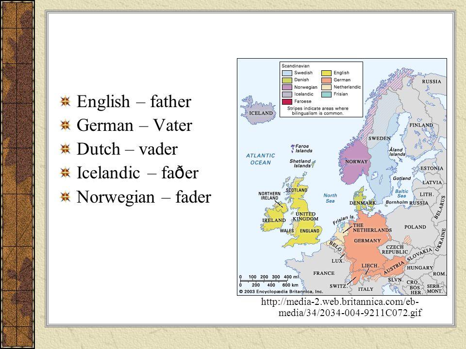 English – father German – Vater Dutch – vader Icelandic – fa ð er Norwegian – fader http://media-2.web.britannica.com/eb- media/34/2034-004-9211C072.g