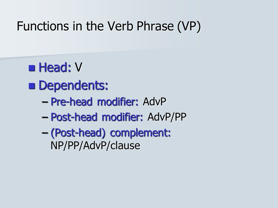 Functions in the Verb Phrase (VP) Head: V Head: V Dependents: Dependents: –Pre-head modifier: AdvP –Post-head modifier: AdvP/PP –(Post-head) complement: NP/PP/AdvP/clause