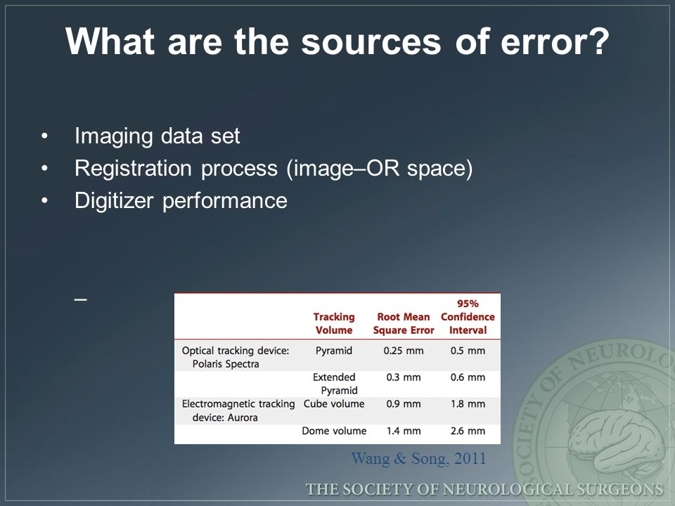 What are the sources of error? Imaging data set Registration process (image–OR space) Digitizer performance – Wang & Song, 2011
