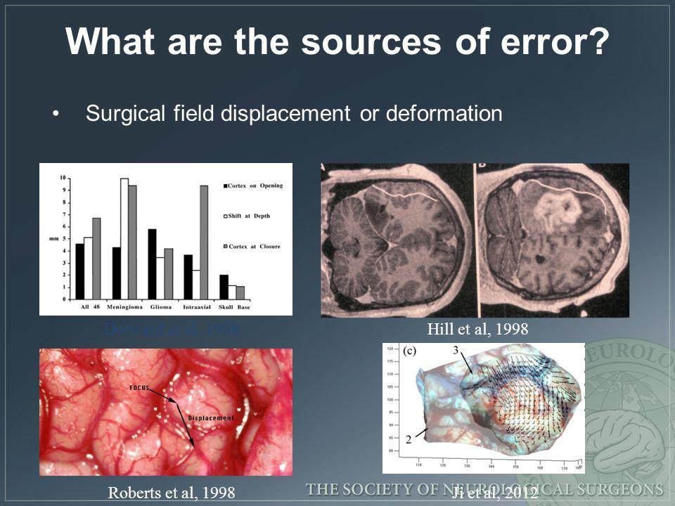 What are the sources of error? Surgical field displacement or deformation Dorward et al, 1998Hill et al, 1998 Roberts et al, 1998Ji et al, 2012