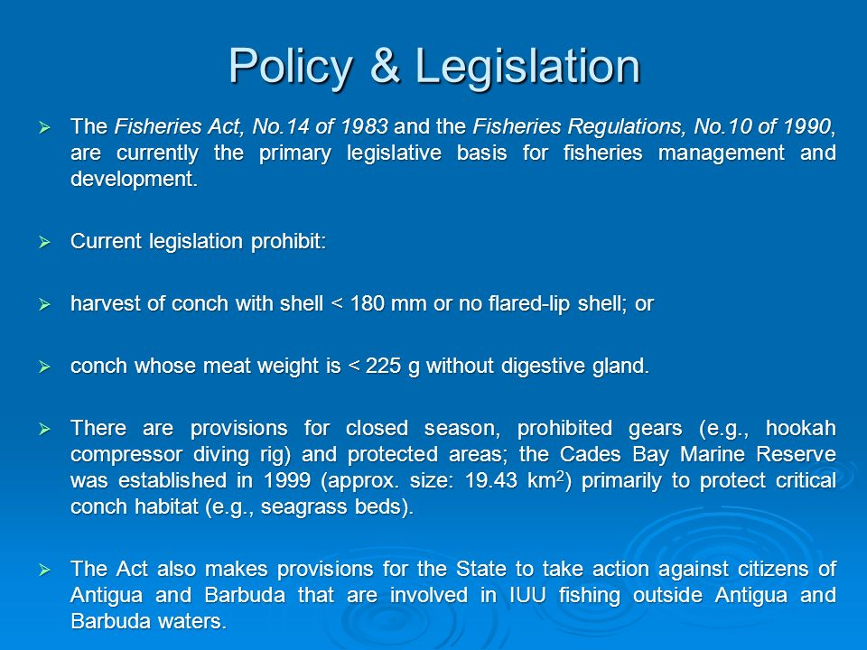 Policy & Legislation The Fisheries Act, No.14 of 1983 and the Fisheries Regulations, No.10 of 1990, are currently the primary legislative basis for fi