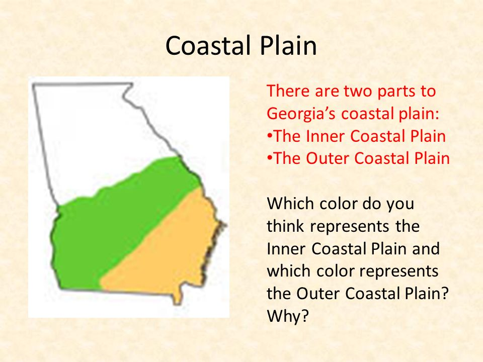 Coastal Plain There are two parts to Georgias coastal plain: The Inner Coastal Plain The Outer Coastal Plain Which color do you think represents the I