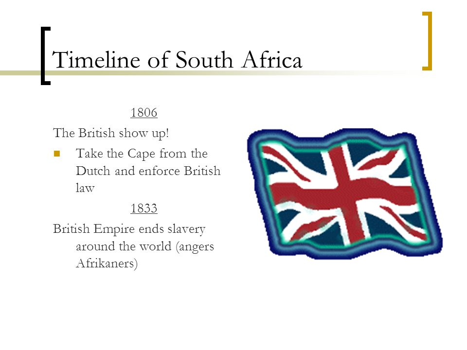 Timeline of South Africa 1806 The British show up! Take the Cape from the Dutch and enforce British law 1833 British Empire ends slavery around the wo