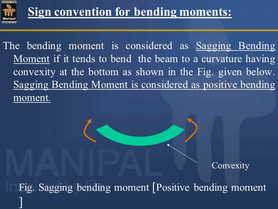 Sign convention for bending moments: The bending moment is considered as Sagging Bending Moment if it tends to bend the beam to a curvature having con