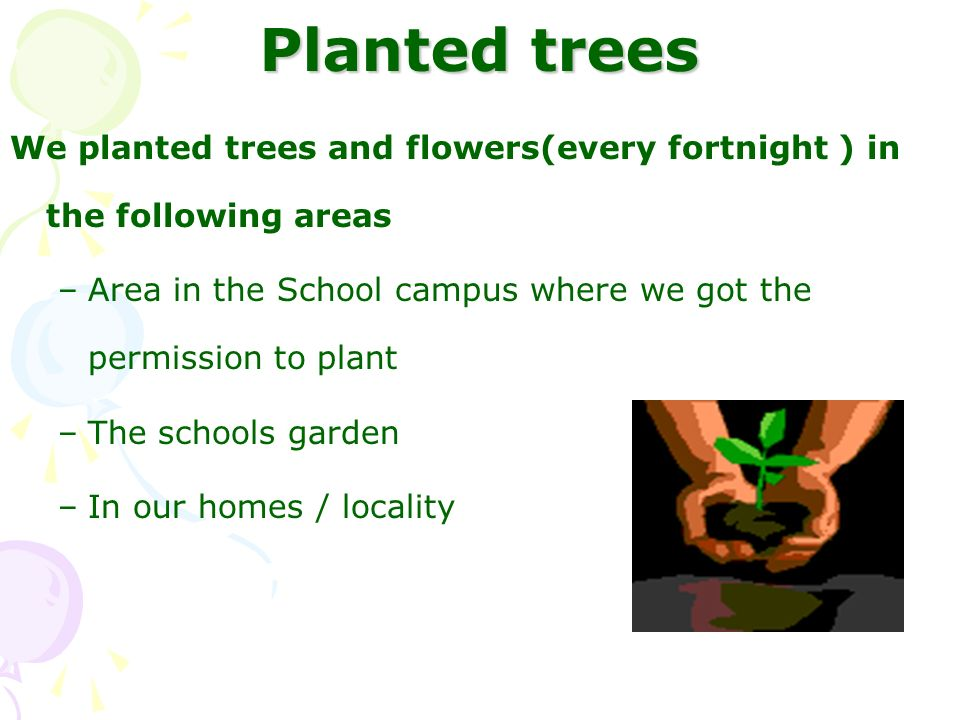 Planted trees We planted trees and flowers(every fortnight ) in the following areas –Area in the School campus where we got the permission to plant –T