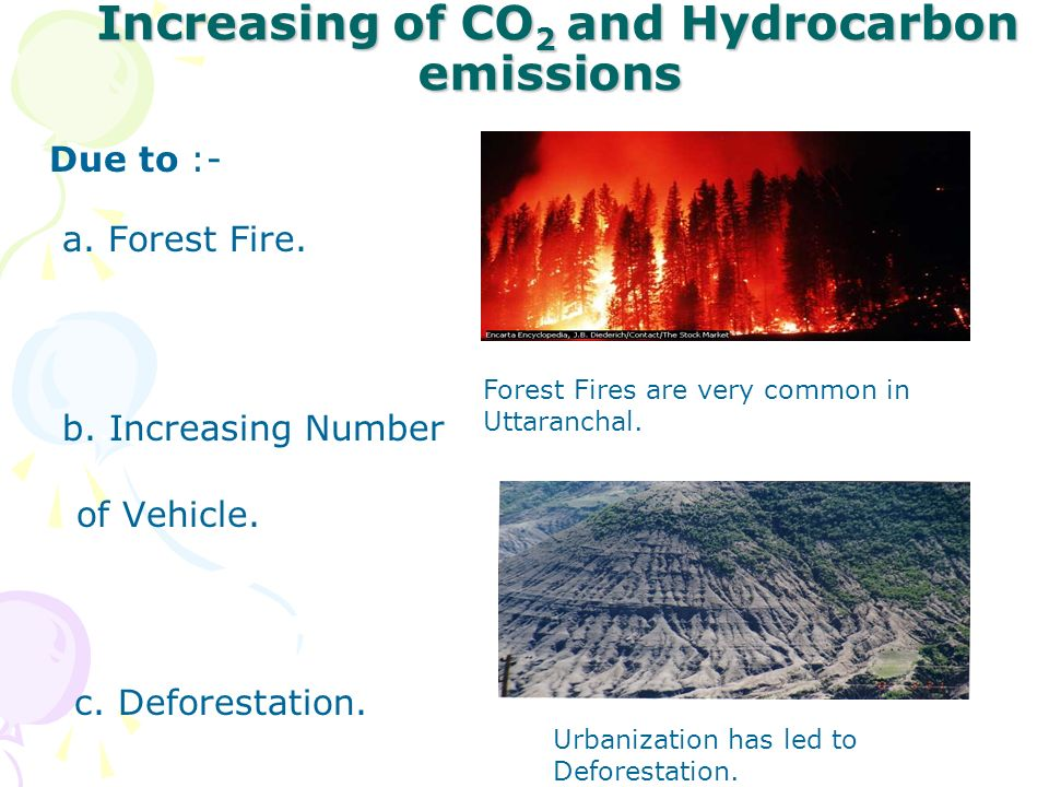 Increasing of CO 2 and Hydrocarbon emissions Increasing of CO 2 and Hydrocarbon emissions Due to :- a. Forest Fire. b. Increasing Number of Vehicle. c