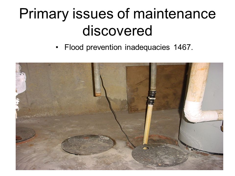 Primary issues of maintenance discovered Flood prevention inadequacies 1467.
