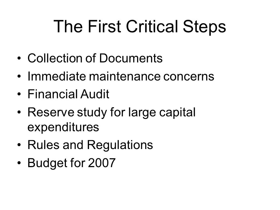 The First Critical Steps Collection of Documents Immediate maintenance concerns Financial Audit Reserve study for large capital expenditures Rules and Regulations Budget for 2007