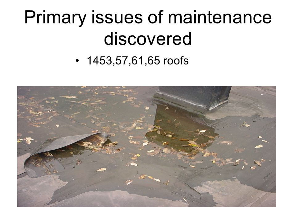 Primary issues of maintenance discovered 1453,57,61,65 roofs