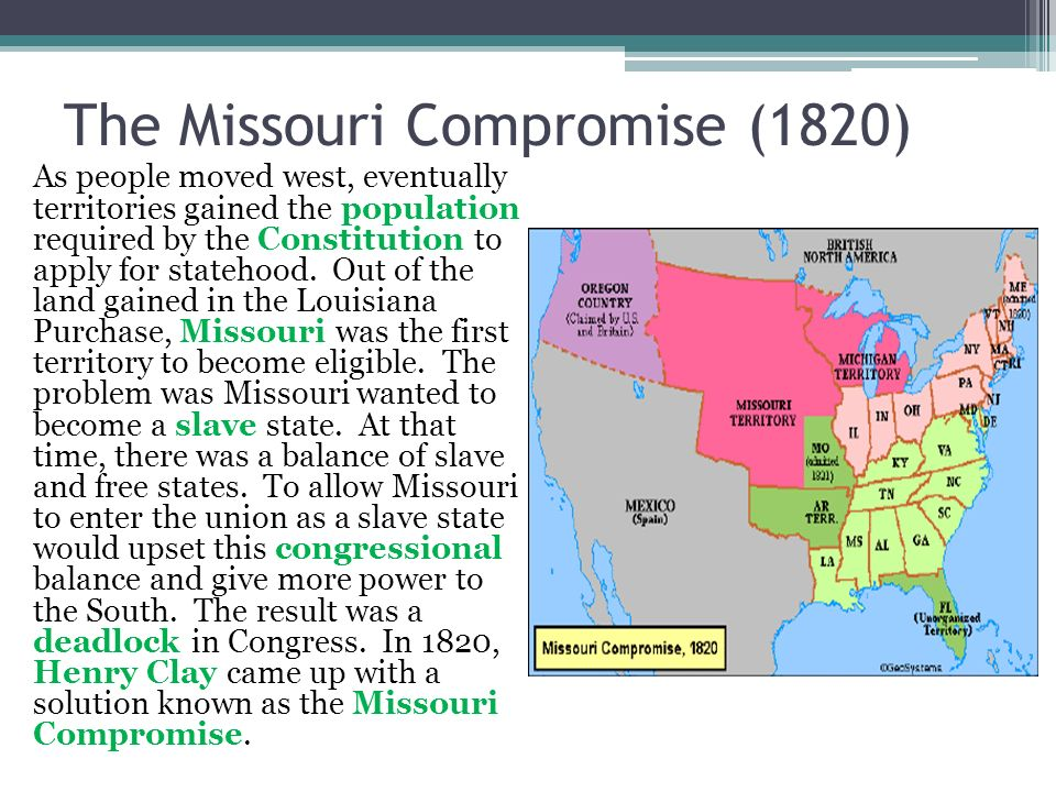 The Missouri Compromise (1820) As people moved west, eventually territories gained the population required by the Constitution to apply for statehood.