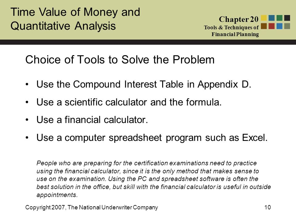 Time Value of Money and Quantitative Analysis Chapter 20 Tools & Techniques of Financial Planning Copyright 2007, The National Underwriter Company10 C