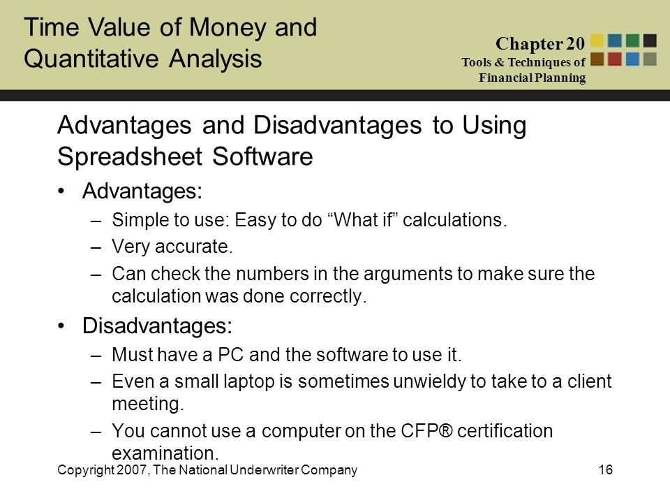 Time Value of Money and Quantitative Analysis Chapter 20 Tools & Techniques of Financial Planning Copyright 2007, The National Underwriter Company16 A
