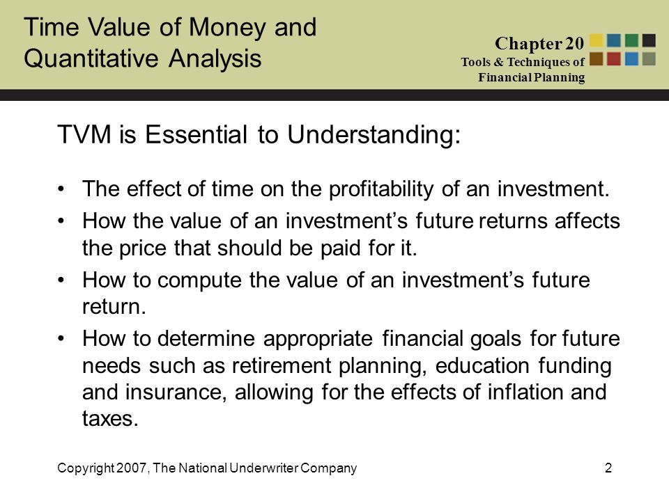 Time Value of Money and Quantitative Analysis Chapter 20 Tools & Techniques of Financial Planning Copyright 2007, The National Underwriter Company2 TV