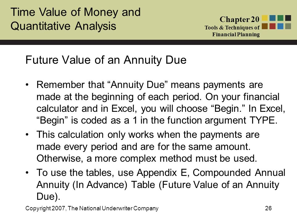 Time Value of Money and Quantitative Analysis Chapter 20 Tools & Techniques of Financial Planning Copyright 2007, The National Underwriter Company26 F