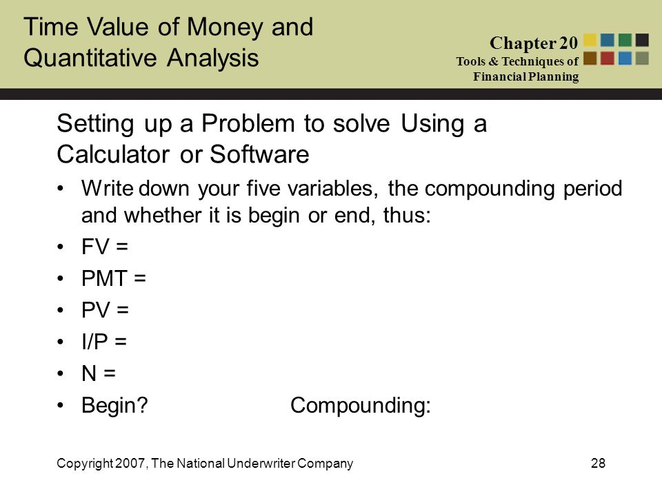 Time Value of Money and Quantitative Analysis Chapter 20 Tools & Techniques of Financial Planning Copyright 2007, The National Underwriter Company28 S