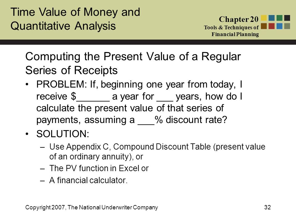 Time Value of Money and Quantitative Analysis Chapter 20 Tools & Techniques of Financial Planning Copyright 2007, The National Underwriter Company32 C