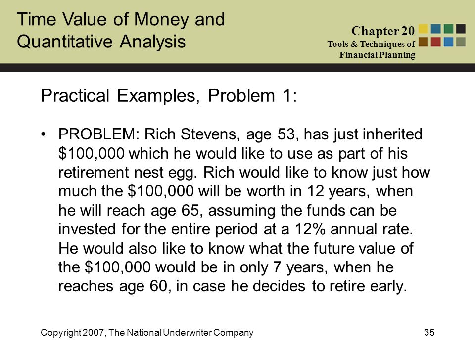 Time Value of Money and Quantitative Analysis Chapter 20 Tools & Techniques of Financial Planning Copyright 2007, The National Underwriter Company35 P