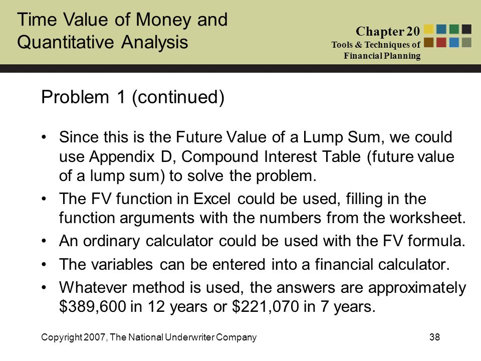 Time Value of Money and Quantitative Analysis Chapter 20 Tools & Techniques of Financial Planning Copyright 2007, The National Underwriter Company38 P