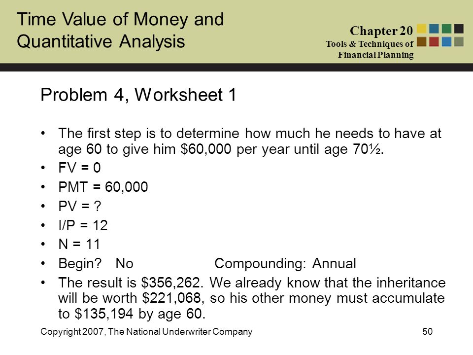 Time Value of Money and Quantitative Analysis Chapter 20 Tools & Techniques of Financial Planning Copyright 2007, The National Underwriter Company50 P