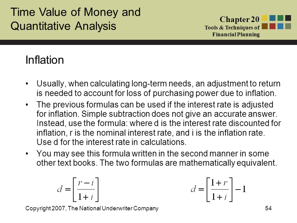 Time Value of Money and Quantitative Analysis Chapter 20 Tools & Techniques of Financial Planning Copyright 2007, The National Underwriter Company54 I