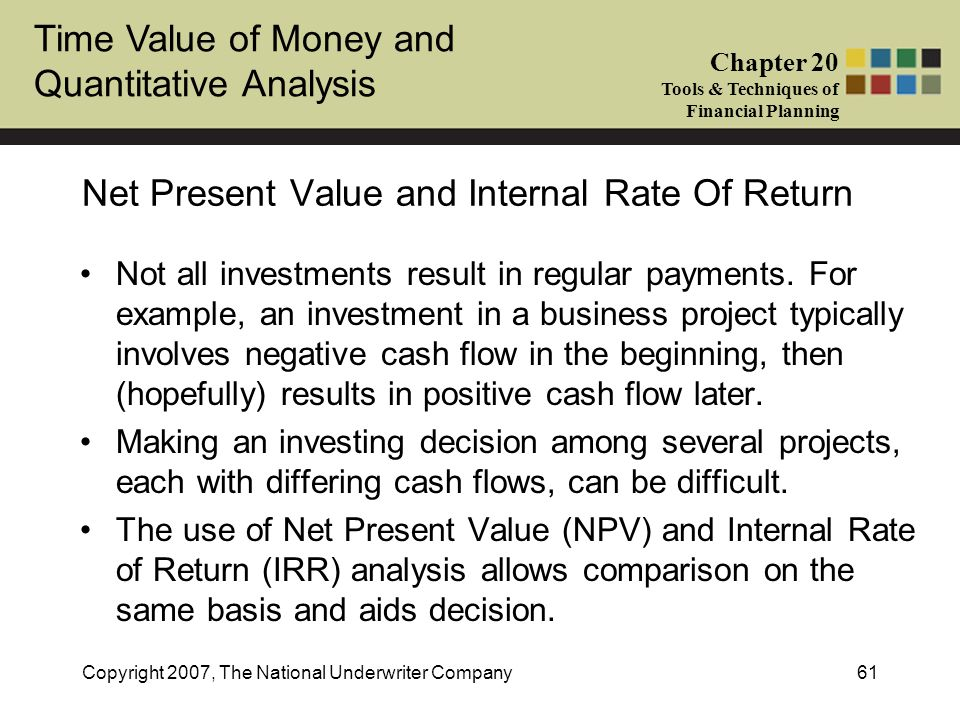 Time Value of Money and Quantitative Analysis Chapter 20 Tools & Techniques of Financial Planning Copyright 2007, The National Underwriter Company61 N