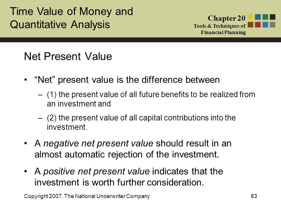 Time Value of Money and Quantitative Analysis Chapter 20 Tools & Techniques of Financial Planning Copyright 2007, The National Underwriter Company63 N