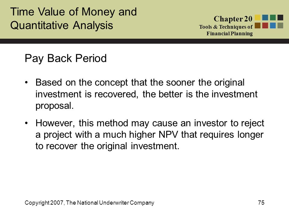 Time Value of Money and Quantitative Analysis Chapter 20 Tools & Techniques of Financial Planning Copyright 2007, The National Underwriter Company75 P