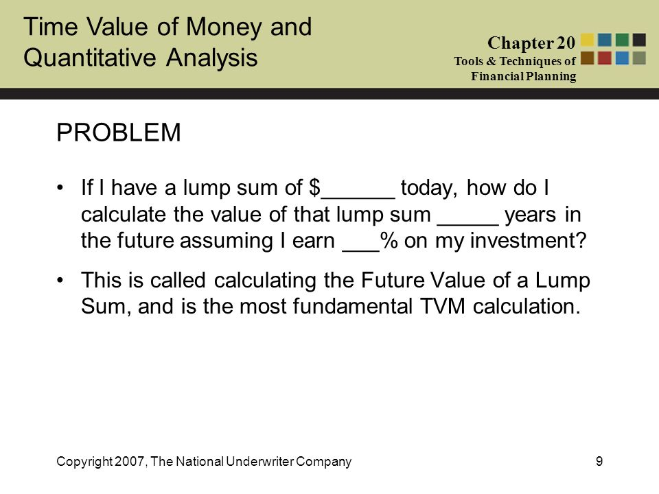 Time Value of Money and Quantitative Analysis Chapter 20 Tools & Techniques of Financial Planning Copyright 2007, The National Underwriter Company9 PR