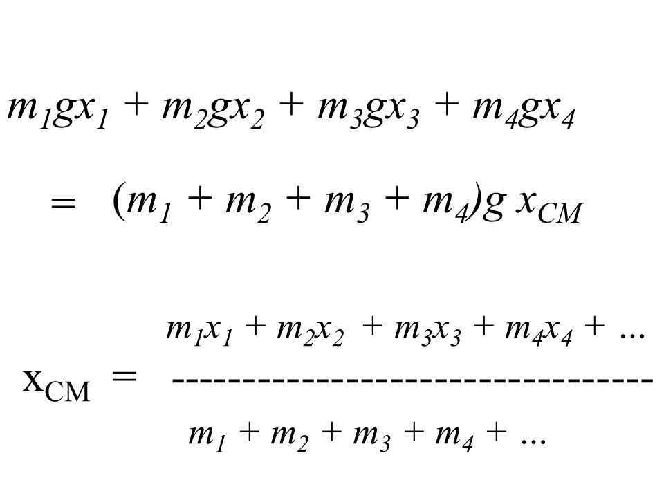 m 1 gx 1 + m 2 gx 2 + m 3 gx 3 + m 4 gx 4 (m 1 + m 2 + m 3 + m 4 )g x CM = m 1 x 1 + m 2 x 2 + m 3 x 3 + m 4 x 4 + … x CM = --------------------------