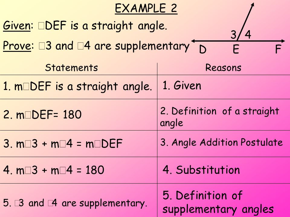 Given: DEF is a straight angle. Prove: 3 and 4 are supplementary 34 DEF StatementsReasons 5. 3 and 4 are supplementary. 1. Given 4. m 3 + m 4 = 180 2.