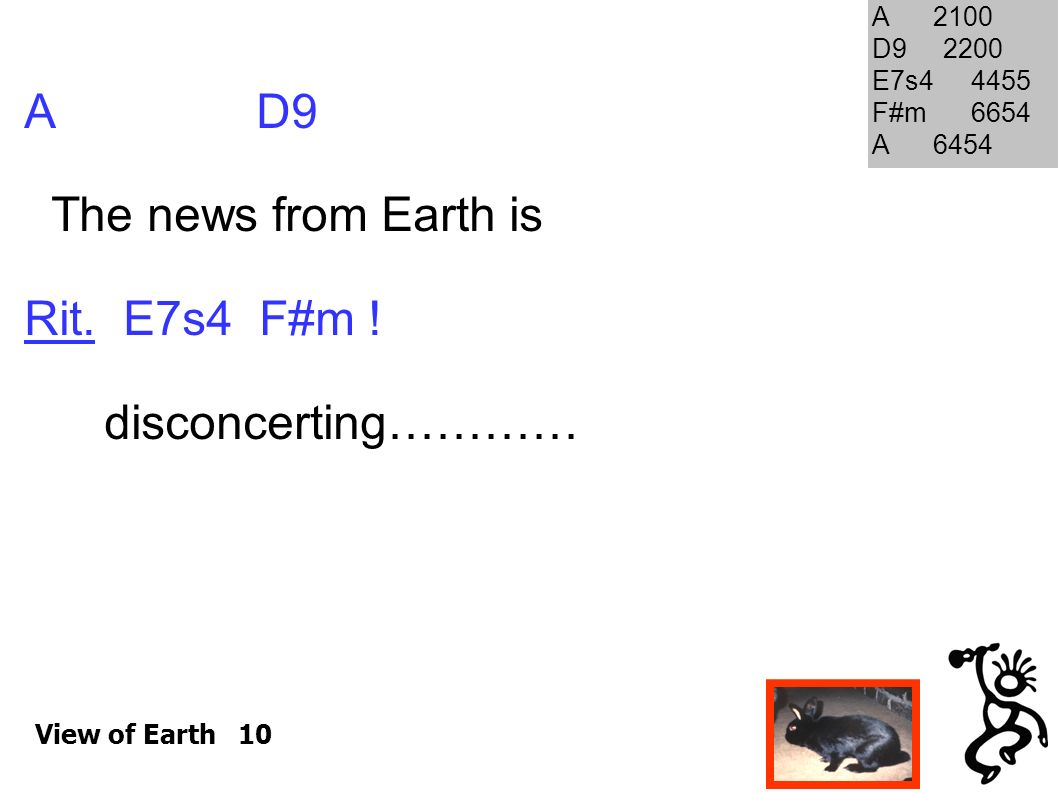 A D9 The news from Earth is Rit. E7s4 F#m ! disconcerting………… A 2100 D9 2200 E7s4 4455 F#m 6654 A 6454 View of Earth 10