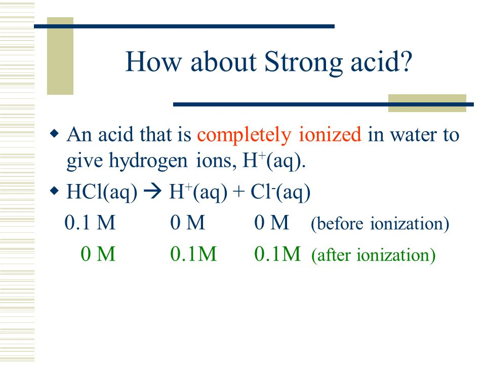 How about Strong acid. An acid that is completely ionized in water to give hydrogen ions, H + (aq).