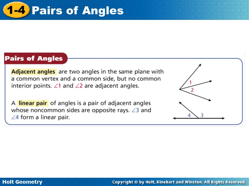 Holt Geometry 1-4 Pairs of Angles