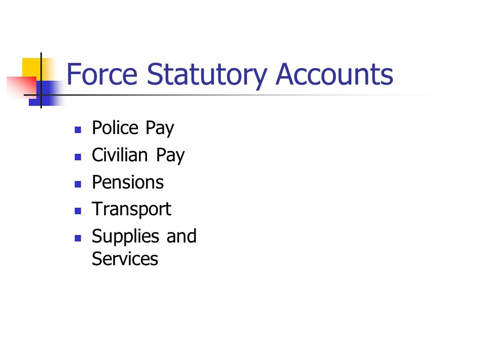Force Statutory Accounts Police Pay Civilian Pay Pensions Transport Supplies and Services