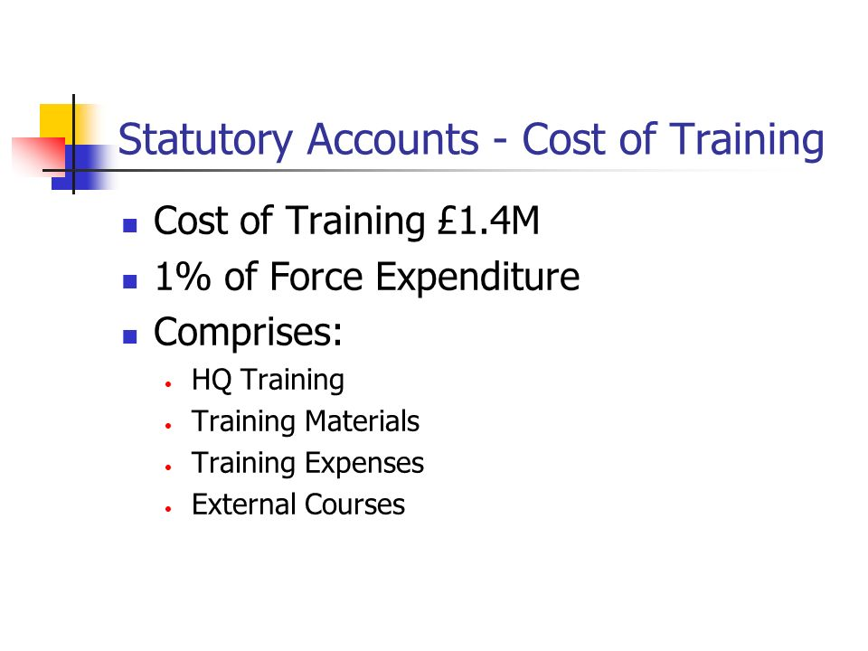 CoTM - Cost of Training (In) Cost of Training £2.3M Comprises: HQ Training & Materials Dogs Training Firearms Training Driver Training Other Excludes: Operational time & External Courses