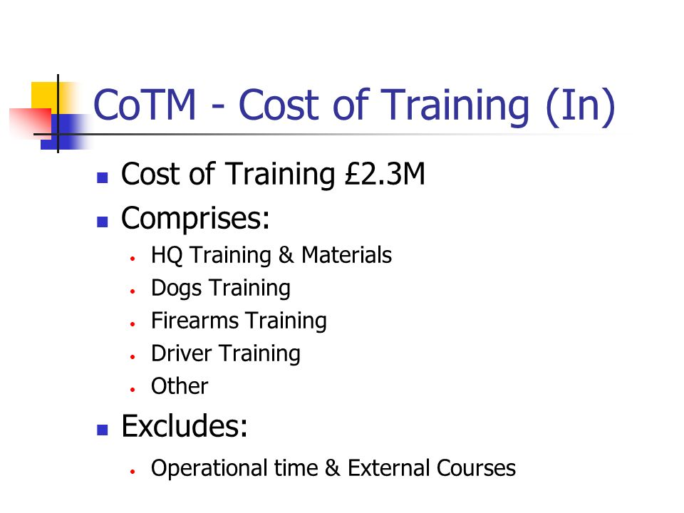 CoTM - Cost of Training (Out) Cost of Courses £2.1M Training Sustaining Overhead £0.2M