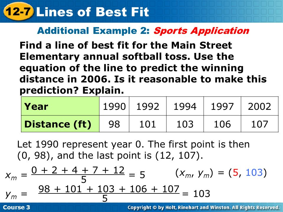 Find a line of best fit for the Main Street Elementary annual softball toss. Use the equation of the line to predict the winning distance in 2006. Is