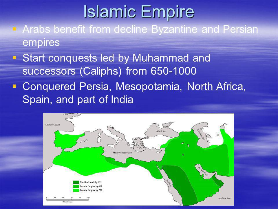 Islamic Empire Arabs benefit from decline Byzantine and Persian empires Start conquests led by Muhammad and successors (Caliphs) from 650-1000 Conquer